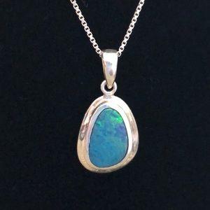Jewelry - Blue Opal Oblong Oval  Pendant Necklace